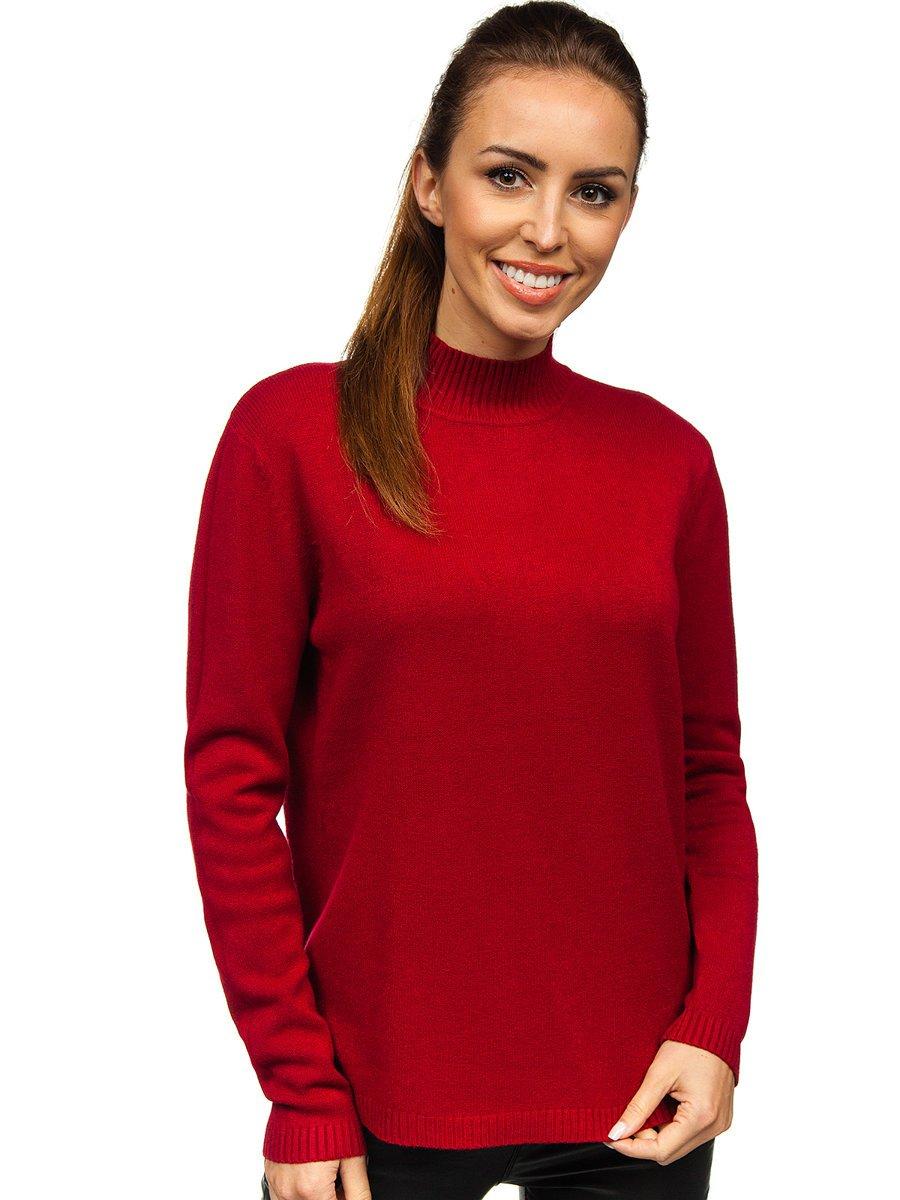 Czerwony sweter damski golf